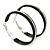 Medium Black Enamel Hoop Earrings In Silver Tone - 40mm Diameter