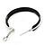 Medium Black Enamel Hoop Earrings In Silver Tone - 40mm Diameter - view 4