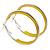 Medium Yellow Enamel Hoop Earrings In Silver Tone - 40mm Diameter