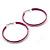 Large Magenta Enamel Hoop Earrings In Silver Tone - 60mm Diameter - view 5