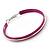 Large Magenta Enamel Hoop Earrings In Silver Tone - 60mm Diameter - view 3