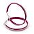 Large Magenta Enamel Hoop Earrings In Silver Tone - 60mm Diameter
