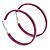 Large Magenta Enamel Hoop Earrings In Silver Tone - 60mm Diameter - view 2