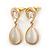 Milky White Cat Eye Teardrop Earrings In Gold Plating - 33mm Length