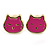 Children's/ Teen's / Kid's Tiny Deep Pink Enamel 'Kitten' Stud Earrings In Gold Plating - 7mm Width