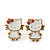 Children's/ Teen's / Kid's Small White Enamel 'Kitty With Red Bow' Stud Earrings In Gold Plating - 11mm Length