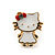 Children's/ Teen's / Kid's Small White Enamel 'Kitty With Red Bow' Stud Earrings In Gold Plating - 11mm Length - view 2
