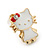Children's/ Teen's / Kid's Small White Enamel 'Kitty With Red Bow' Stud Earrings In Gold Plating - 11mm Length - view 3