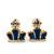 Children's/ Teen's / Kid's Tiny Navy Blue Enamel 'Crown' Stud Earrings In Gold Plating - 8mm Length