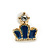 Children's/ Teen's / Kid's Tiny Navy Blue Enamel 'Crown' Stud Earrings In Gold Plating - 8mm Length - view 2