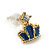 Children's/ Teen's / Kid's Tiny Navy Blue Enamel 'Crown' Stud Earrings In Gold Plating - 8mm Length - view 3