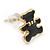 Children's/ Teen's / Kid's Tiny Black Enamel 'Teddy Bear' Stud Earrings In Gold Plating - 8mm Length - view 3