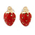 Children's/ Teen's / Kid's Tiny Red Enamel 'Strawberry' Stud Earrings In Gold Plating - 9mm Length