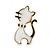 Children's/ Teen's / Kid's Small White Enamel 'Cat' Stud Earrings In Gold Plating - 15mm Length - view 2