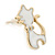 Children's/ Teen's / Kid's Small White Enamel 'Cat' Stud Earrings In Gold Plating - 15mm Length - view 3