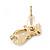 Children's/ Teen's / Kid's Small White Enamel 'Cat' Stud Earrings In Gold Plating - 15mm Length - view 4
