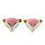 Children's/ Teen's / Kid's Tiny Pink/ White Enamel 'Fox' Stud Earrings In Gold Plating - 10mm Width