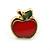 Children's/ Teen's / Kid's Tiny Red Enamel 'Apple' Stud Earrings In Gold Plating - 8mm Length - view 2