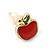Children's/ Teen's / Kid's Tiny Red Enamel 'Apple' Stud Earrings In Gold Plating - 8mm Length - view 3