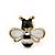 Children's/ Teen's / Kid's Tiny Black/ White Enamel 'Bee' Stud Earrings In Gold Plating - 10mm Diameter - view 2