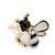 Children's/ Teen's / Kid's Tiny Black/ White Enamel 'Bee' Stud Earrings In Gold Plating - 10mm Diameter - view 3