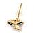 Children's/ Teen's / Kid's Tiny Black/ White Enamel 'Bee' Stud Earrings In Gold Plating - 10mm Diameter - view 4