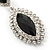 Prom/ Bridal Diamante Black/ Clear Oval Drop Earrings In Rhodium Plating - 50mm Length - view 6