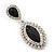 Prom/ Bridal Diamante Black/ Clear Oval Drop Earrings In Rhodium Plating - 50mm Length - view 9