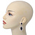 Prom/ Bridal Diamante Black/ Clear Oval Drop Earrings In Rhodium Plating - 50mm Length - view 2