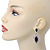 Prom/ Bridal Diamante Black/ Clear Oval Drop Earrings In Rhodium Plating - 50mm Length - view 3