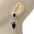 Prom/ Bridal Diamante Black/ Clear Oval Drop Earrings In Rhodium Plating - 50mm Length - view 4