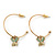 Medium Thin Gold Tone Hoop With Butterfly Drop Earrings - 30mm Diameter
