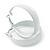 Wide Medium White Enamel Hoop Earrings - 40mm Diameter - view 4