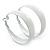 Wide Medium White Enamel Hoop Earrings - 40mm Diameter - view 2