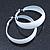 Wide Medium White Enamel Hoop Earrings - 40mm Diameter - view 5