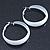 Wide Medium White Enamel Hoop Earrings - 40mm Diameter - view 8