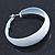 Wide Medium White Enamel Hoop Earrings - 40mm Diameter - view 6