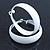 Wide Medium White Enamel Hoop Earrings - 40mm Diameter - view 7