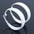 Wide Medium White Enamel Hoop Earrings - 40mm Diameter