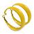Wide Medium Yellow Enamel Hoop Earrings - 40mm Diameter