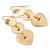 Gold Tone Textured Diamante Triple Heart Drop Earrings - 50mm Length - view 5