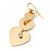Gold Tone Textured Diamante Triple Heart Drop Earrings - 50mm Length - view 7