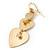 Gold Tone Textured Diamante Triple Heart Drop Earrings - 50mm Length - view 3