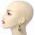 Gold Tone Textured Diamante Triple Heart Drop Earrings - 50mm Length - view 6