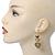 Gold Tone Textured Diamante Triple Heart Drop Earrings - 50mm Length - view 2