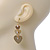 Gold Tone Textured Diamante Triple Heart Drop Earrings - 50mm Length - view 4