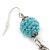 Retro Style Long Light Blue Crochet Chain Dangle Earrings In Silver Tone - 11cm Length - view 4