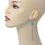 Retro Style Long Light Blue Crochet Chain Dangle Earrings In Silver Tone - 11cm Length - view 6