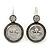 Vintage Inspired Mother of Pearl 'Angel' Drop Earrings In Burn Silver Tone - 35mm Length