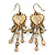 Vintage Inspired Crystal Bead Heart Earrings With Dangles In Antique Gold Tone - 60mm L